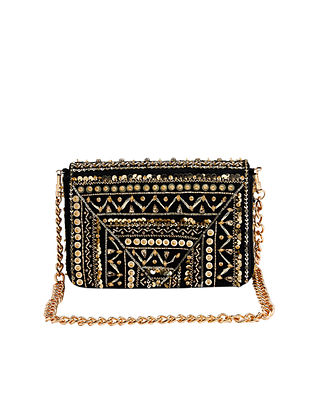 Black Gold Hand Embroidered Suede Clutch