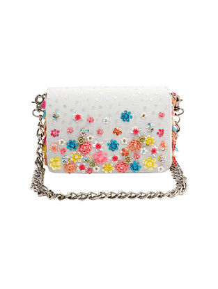 Multicolored Hand Embroidered Suede Clutch