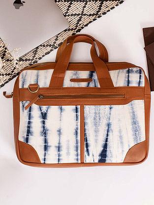 White Blue Handcrafted Shibori Cotton Canvas Leather Laptop Bag