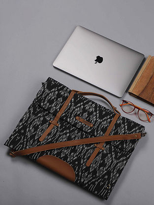 Black Handcrafted Ikat Cotton Leather Laptop Bag