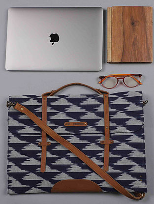Blue Handcrafted Ikat Cotton Leather Laptop Bag