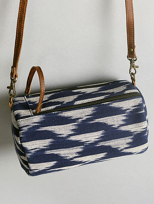 Blue Handcrafted Ikat Cotton Leather Sling Bag