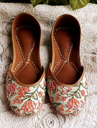 Yellow Green Beaded Handcrafted Cotton Leather Juttis