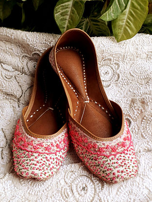White Pink Handcrafted Beaded Cotton Leather Juttis