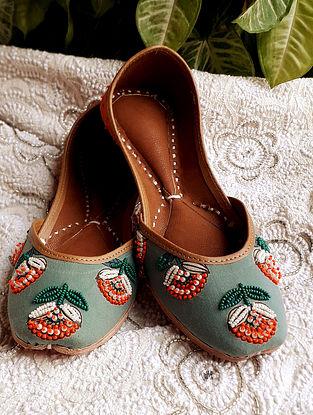 Pine Green Orange Handcrafted Beaded Cotton Leather Juttis