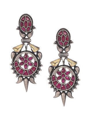 Pink Kempstone Encrusted Tribal Silver Earrings