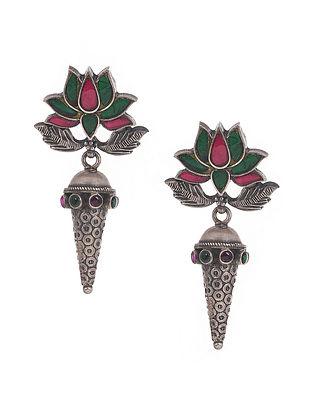 Green Pink Kempstone Encrusted Tribal  Silver Earrings