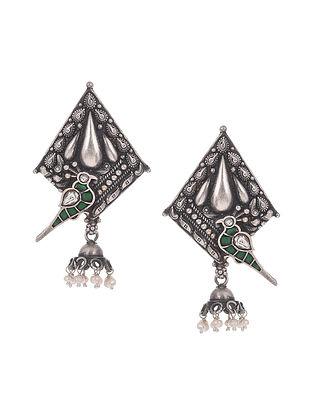 Green Kempstone Encrusted Tribal Silver Earrings with Pearls