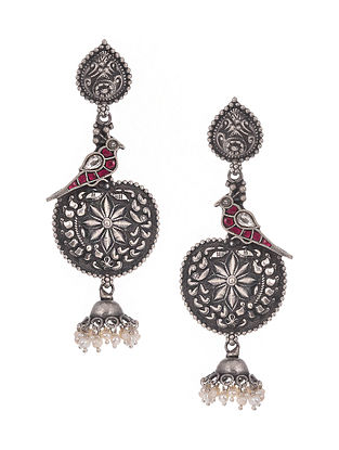 Pink Kempstone Encrusted Tribal Silver Earrings with Pearls