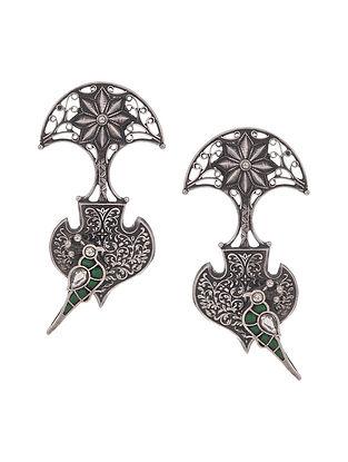 Green Kempstone Encrusted Tribal Silver Earrings