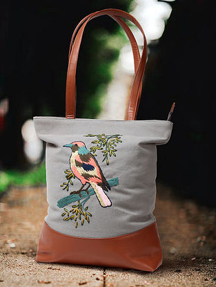 Light Grey Hand Embroidered Canvas Cotton Tote Bag