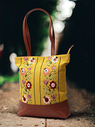 Lemon Yellow Hand Embroidered Canvas Cotton Tote Bag