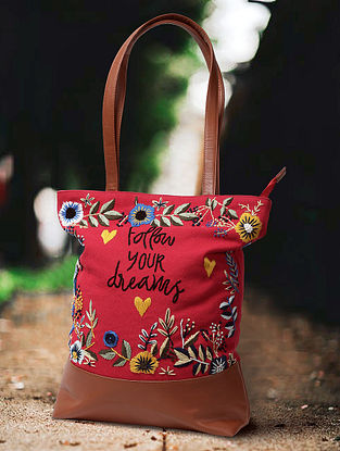 Red Hand Embroidered Canvas Cotton Tote Bag