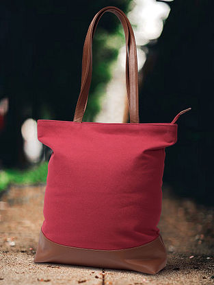 Red Handcrafted Canvas Cotton Tote Bag