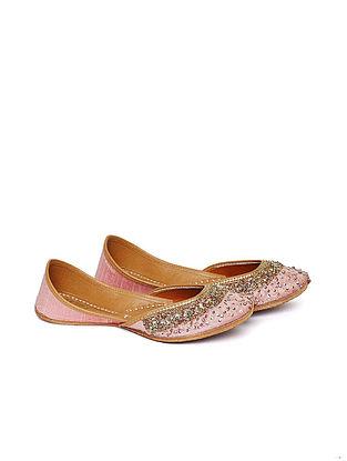 Blush Pink Hand Embroidered Dupion Silk Leather Juttis
