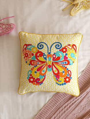 Multicolour Applique Butterfly design Cushion Cover (L- 16in ,W-16in)