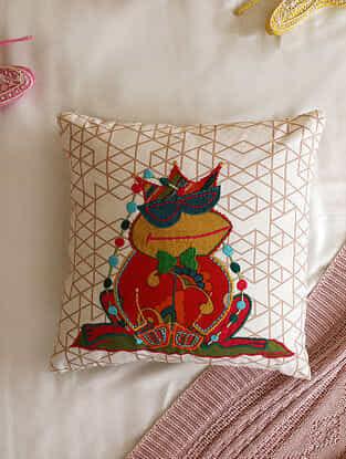 Multicolour Applique Frog Design Cushion Cover (L- 16in ,W-16in)