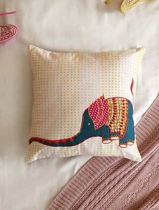 Multicolour Applique Baby Elephant Cushion Cover (L- 16in ,W-16in)