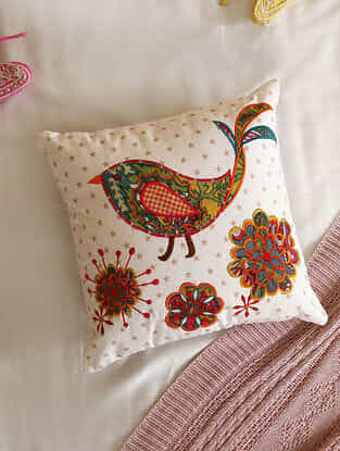 Multicolour Applique Bird and Flower Cushion Cover (L- 16in ,W-16in)