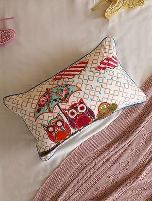 Multicolour Applique Owl Cushion Cover (L- 19in ,W-12in)