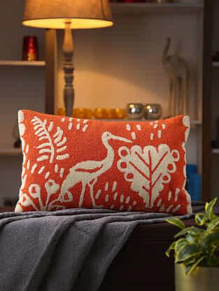 Orange Stork Design Woven Cushion Cover (L- 22in ,W-12in)