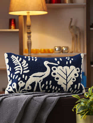 Blue Stork Design Woven Cushion Cover (L- 22in ,W-12in)