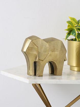 Gold Tone Elephant Animal Figurine (L- 8in ,W-3.9in ,H- 6.5in)