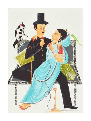 Multicolour Charlie Babu Bibi Kalighat Pattachitra Digital Print on Archival Paper (L- 11.5in ,W- 8.25in)