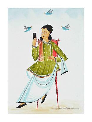 Multicolour Babu on Twitter Kalighat Pattachitra Digital Print on Archival Paper (L- 11.5in ,W- 8.25in)