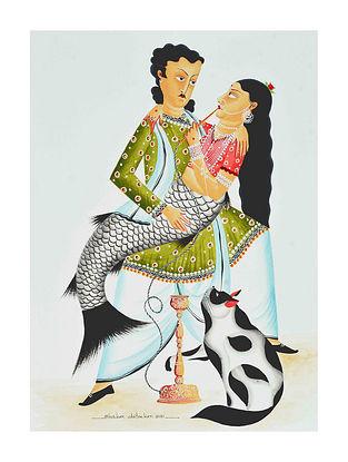 Multicolour Babu with Bibi as mermaid Kalighat Pattachitra Digital Print on Archival Paper (L- 11.5in ,W- 8.25in)