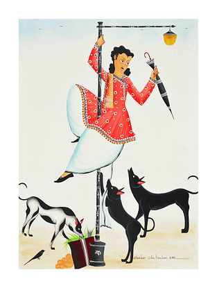 Multicolour Dancing Babu Kalighat Pattachitra Digital Print on Archival Paper (L- 11.5in ,W- 8.25in)