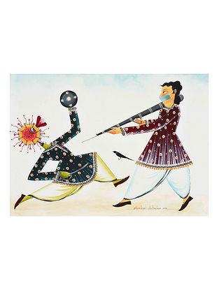 Multicolour Covid Warrior Babu  Kalighat Pattachitra Digital Print on Archival Paper (L- 11.5in ,W- 8.25in)