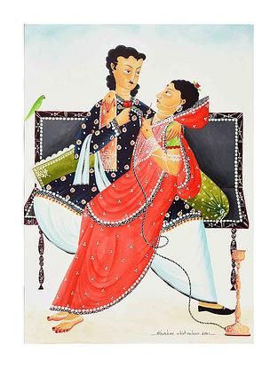 Multicolour Babu Bibi Romantic Kalighat Pattachitra Digital Print on Archival Paper (L- 11.5in ,W- 8.25in)