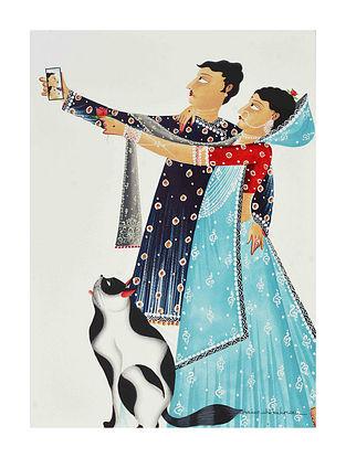 Multicolour Babu-Bibi taking a Selfie Kalighat Pattachitra Digital Print on Archival Paper (L- 11.5in ,W- 8.25in)