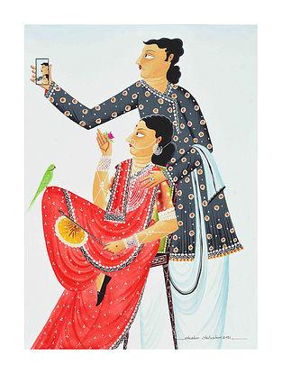 Multicolour Babu-Bibi taking a SelfieKalighat Pattachitra Digital Print on Archival Paper (L- 11.5in ,W- 8.25in)