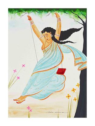 Multicolour Nautch Girl Kalighat Pattachitra Digital Print on Archival Paper (L- 11.5in ,W- 8.25in)