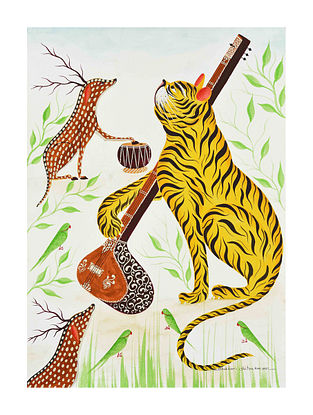 Multicolour Forest Musicians Kalighat Pattachitra Digital Print on Archival Paper (L- 11.5in ,W- 8.25in)