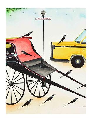 Multicolour Covid days in Kolkata Kalighat Pattachitra Digital Print on Archival Paper (L- 11.5in ,W- 8.25in)
