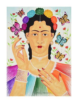 Multicolour Kali Kahlo Kalighat Pattachitra Digital Print on Archival Paper (L- 11.5in ,W- 8.25in)