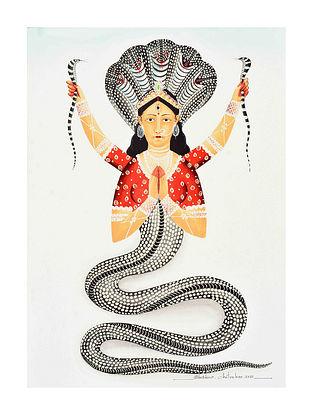 Multicolour Naagkanya Kalighat Pattachitra Digital Print on Archival Paper (L- 11.5in ,W- 8.25in)