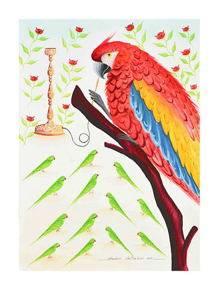 Multicolour Parrot with hookah Kalighat Pattachitra Digital Print on Archival Paper (L- 11.5in ,W- 8.25in)