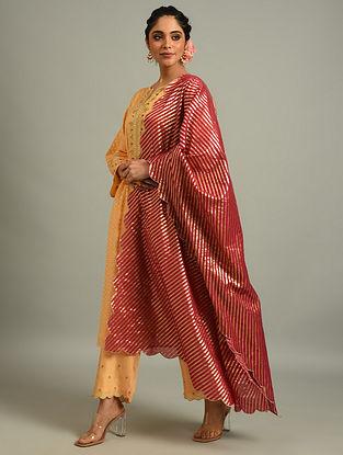 Red Cotton Chanderi Dupatta