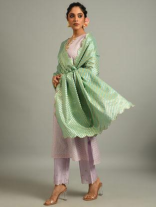 Turquoise Cotton Chanderi Dupatta