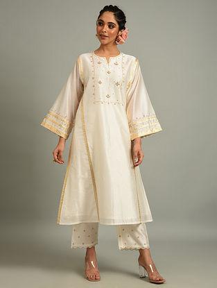 Off White Silk Chanderi Kurta with Hand Embroidery