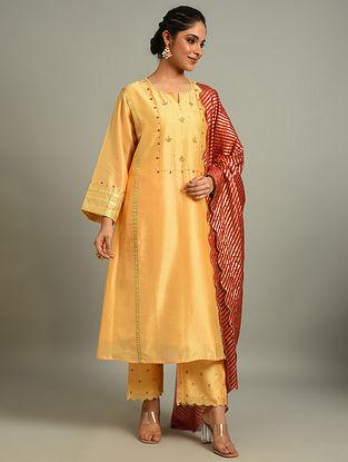 Light Orange  Silk Chanderi Kurta with Hand Embroidery