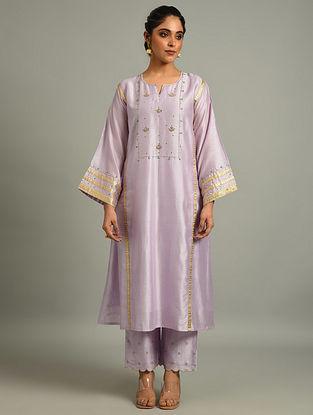Lavender Silk Chanderi  Kurta with Hand Embroidery