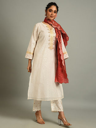 Off White Cotton Chanderi Kurta with Hand Embroidery