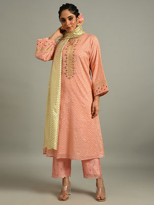 Peach Cotton Chanderi Kurta with Hand Embroidery