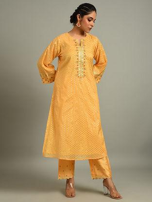 Light Orange Cotton Chanderi Kurta with Hand Embroidery