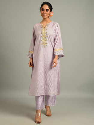 Lavender Cotton Chanderi Kurta with Hand Embroidery